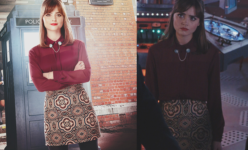 Clara Oswald's The Caretaker outfit featuring the Topshop Tapestry Skirt, the Topshop Multi-Panel Burgundy Blouse and Ladybird Likes Moon Wooden Collar Clips