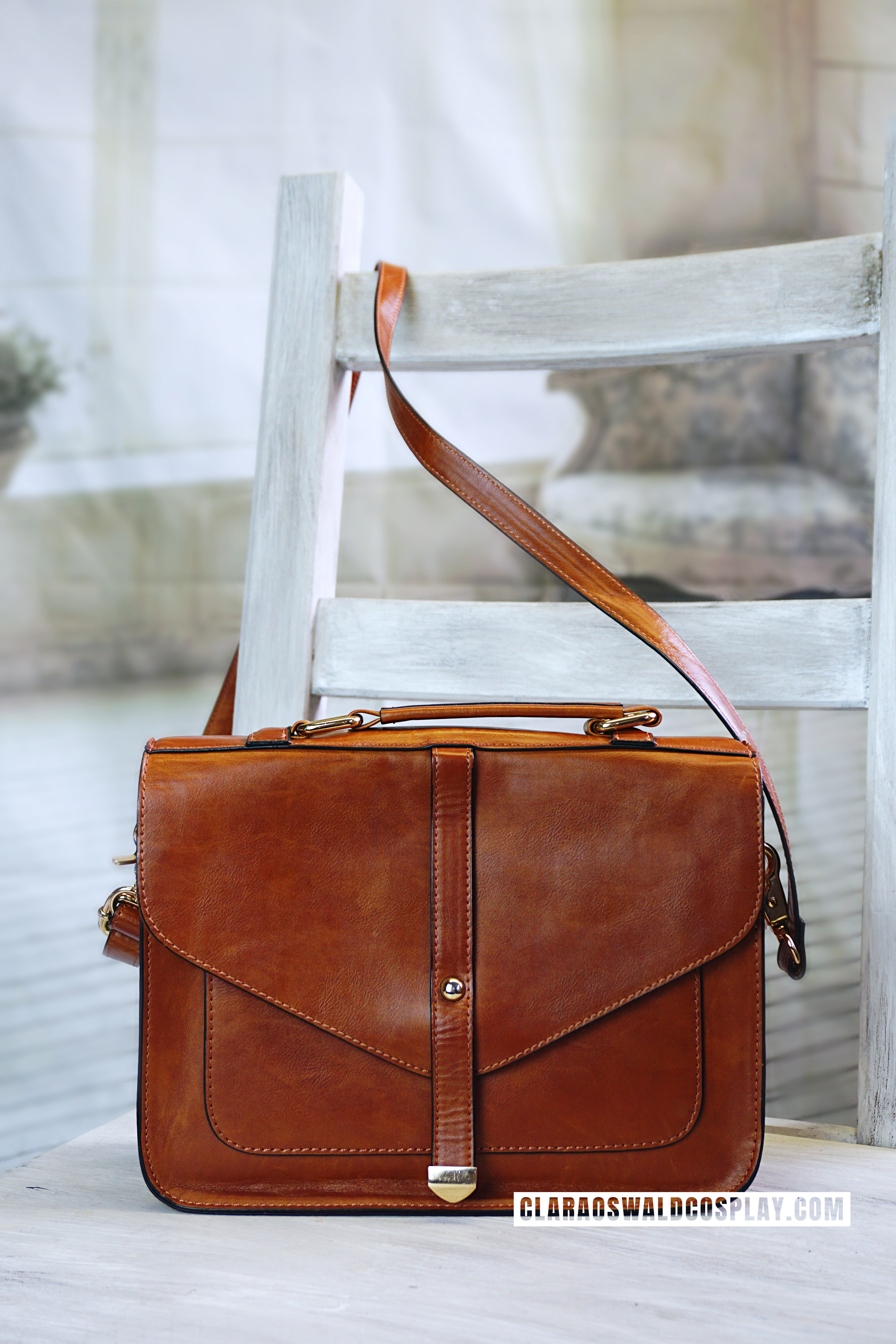 The Urban Outfitters Deena & Ozzy Tan Satchel - back view