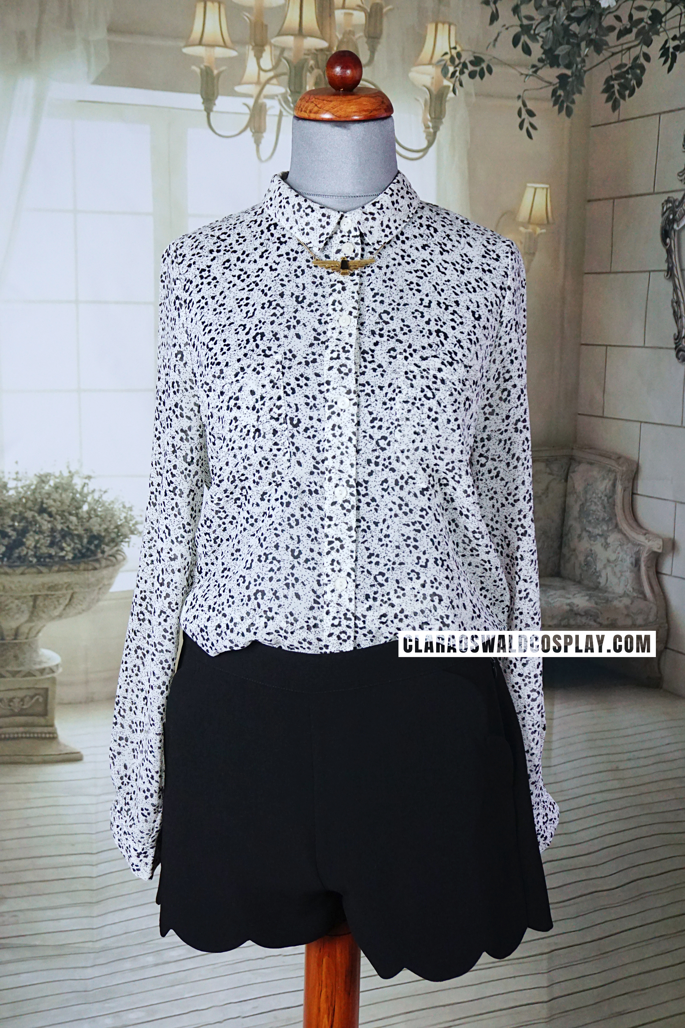 Clara Oswald's Urban Outfitters Sparkle & Fade Animal Print Blouse as seen in Bells of Saint John
