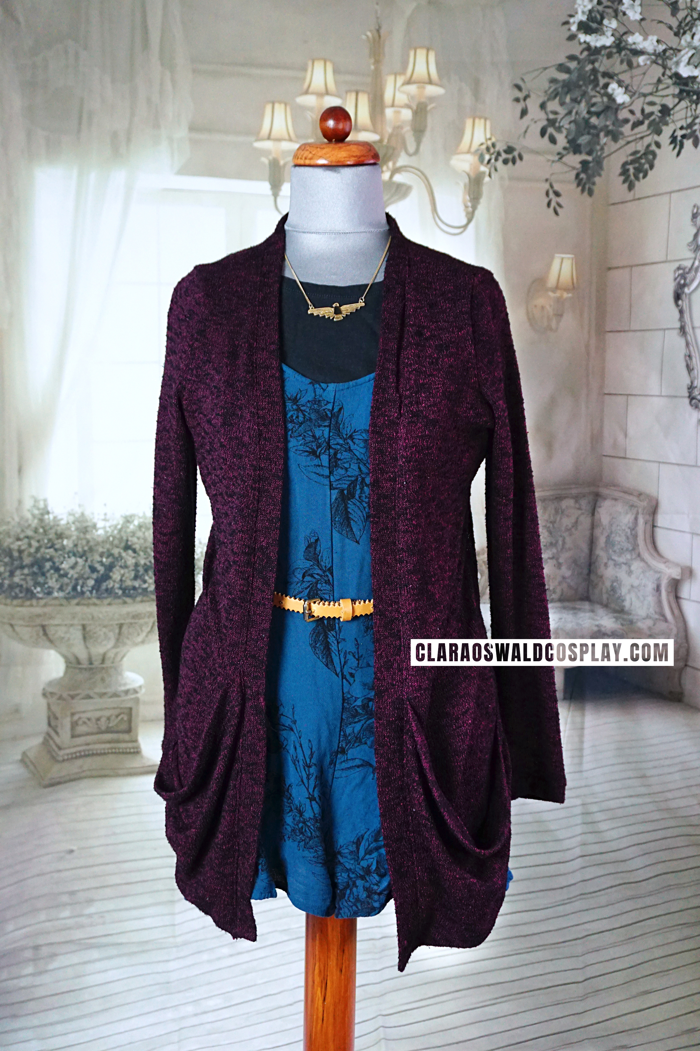 Clara Oswald's Crimson Horror outfit featuring the Urban Outfitters Sparkle & Fade Playsuit, the Urban Outfitters Sparkle & Fade Burgundy Cardigan, un-IDed black t-shirt and belt