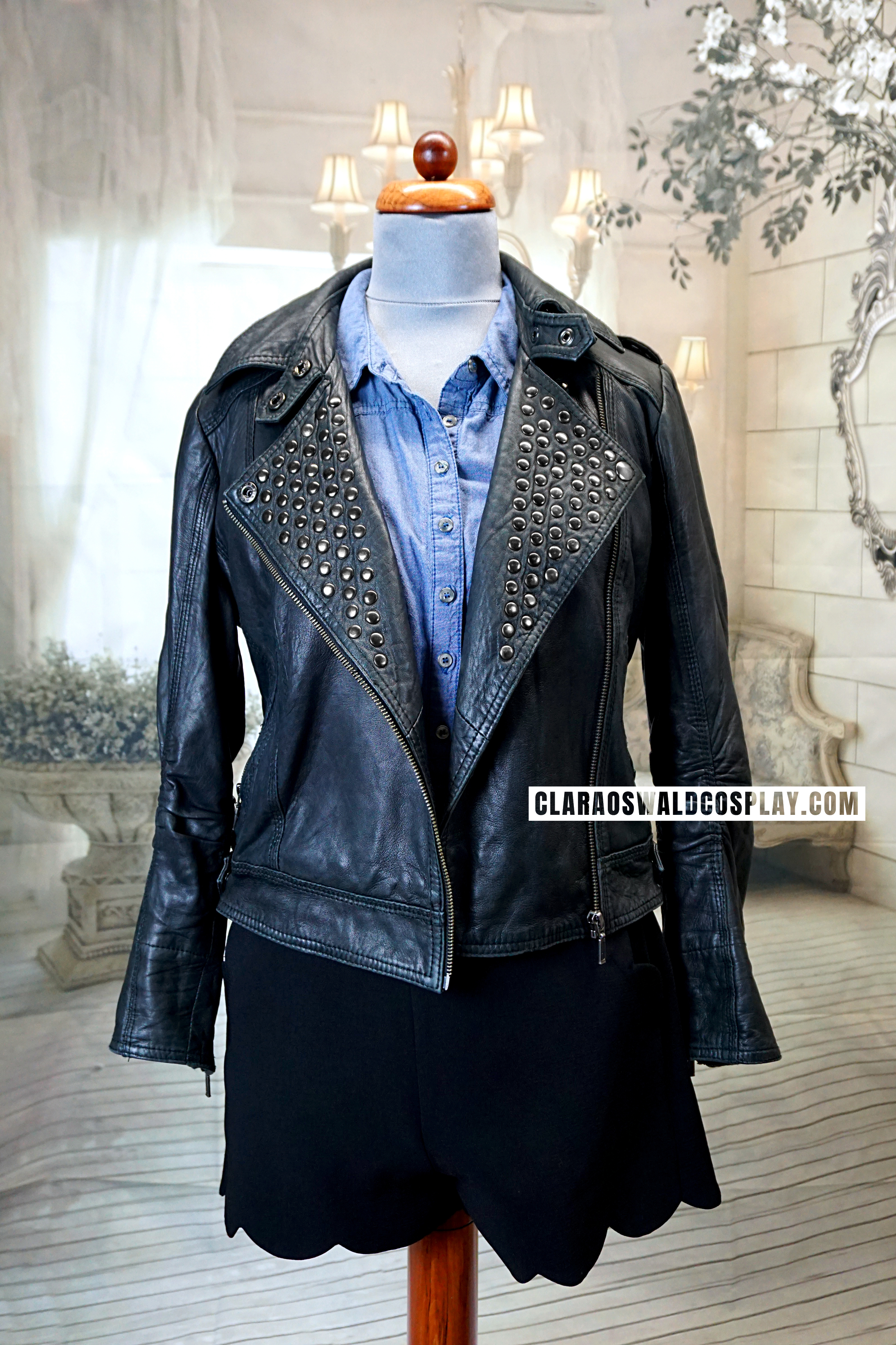Front view of echo!Clara's Name of the Doctor Studded Leather Jacket by Topshop