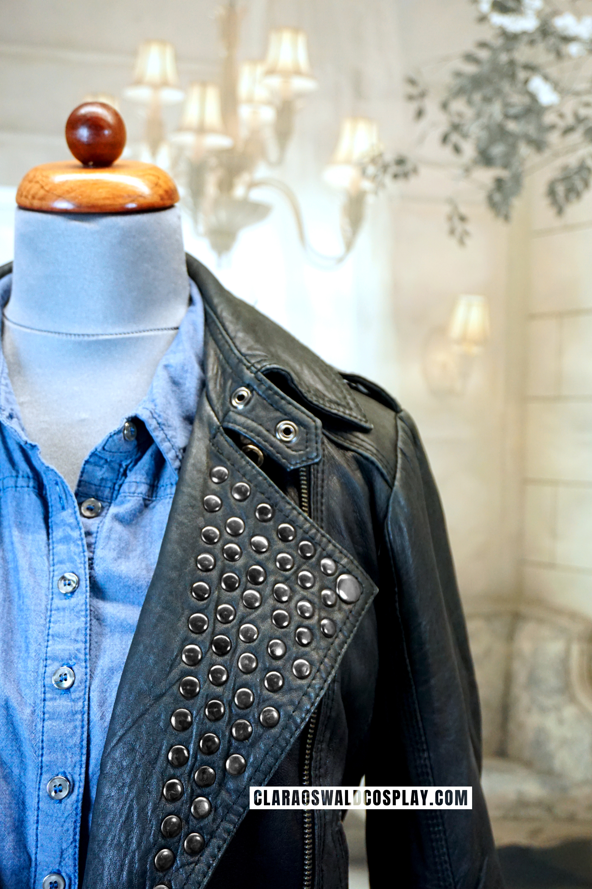 The studded collar of the Topshop Jacket