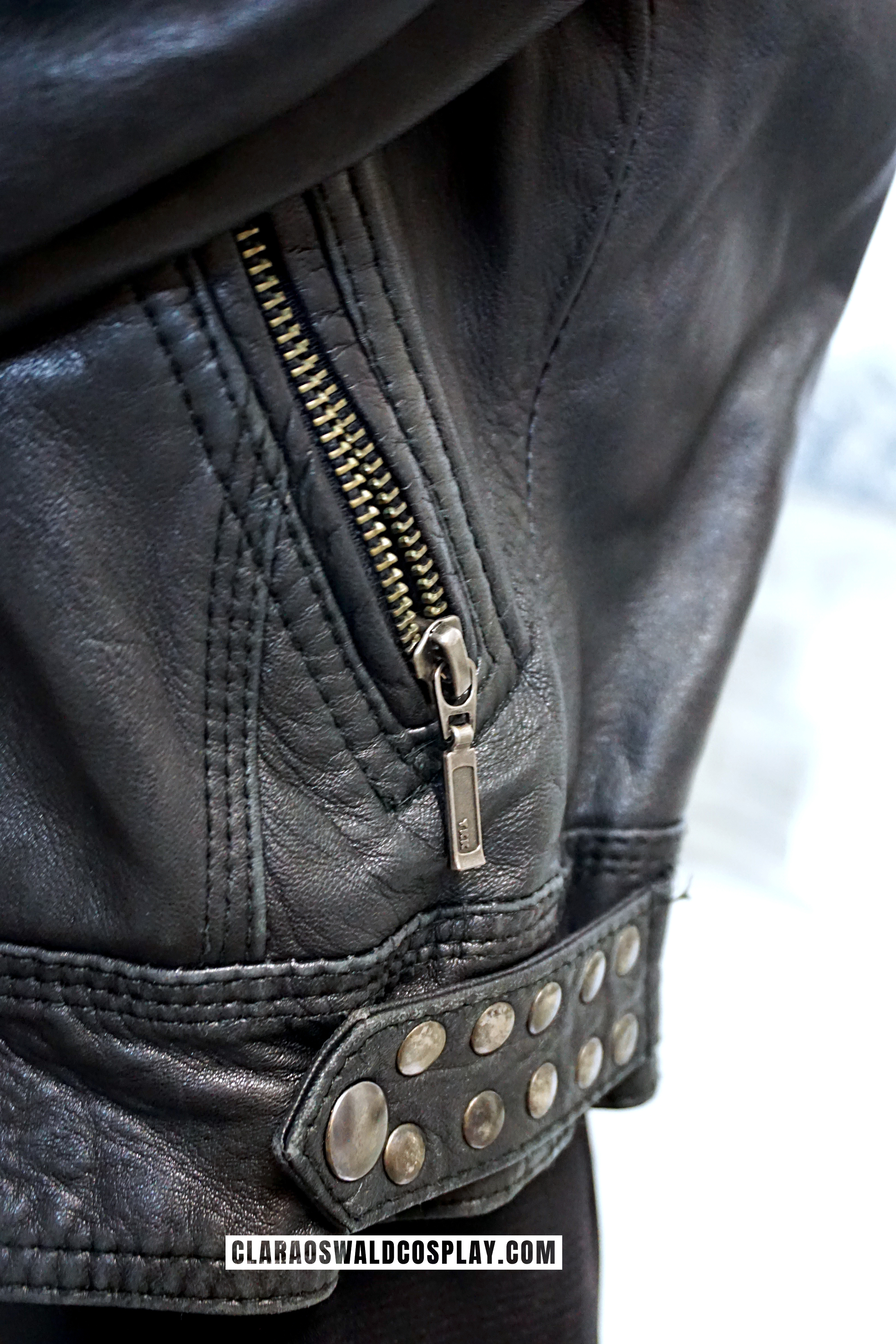 There are studded applications on the sides and the shoulder