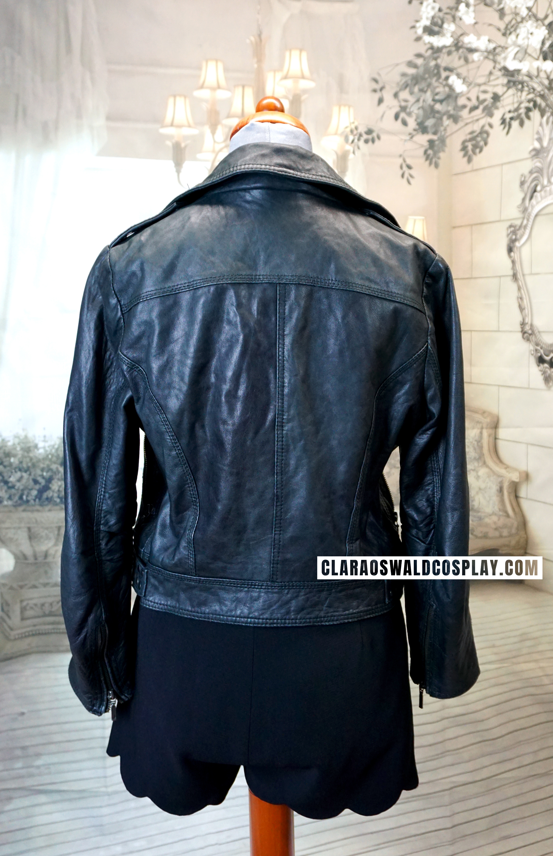 Back view of the Topshop Studded Leather Jacket