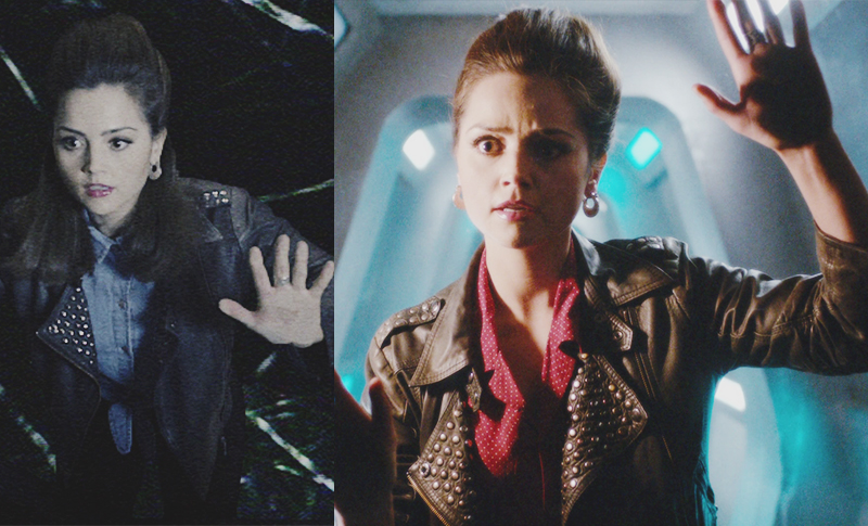 Clara Oswald's echoes wearing the Topshop Studded Leather Jacket in Name of the Doctor
