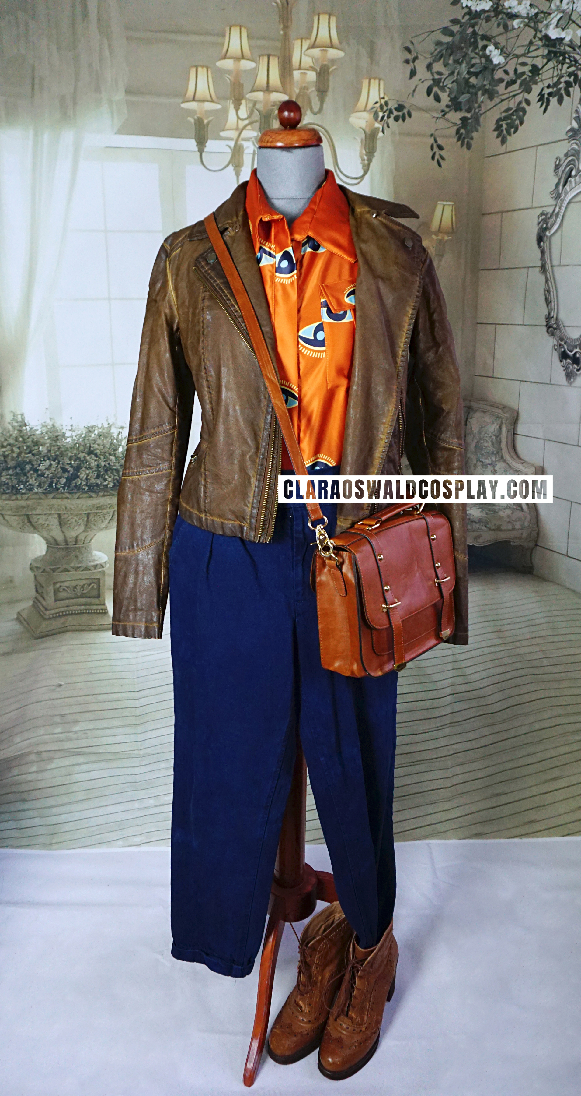 Clara Oswald's Into The Dalek outfit featuring the River Island Brown Leather Jacket with detachable fur collar, Shalex Orange Eye Blouse, ASOS Just Female Denim Trousers and River Island Brogue Ankle Boots