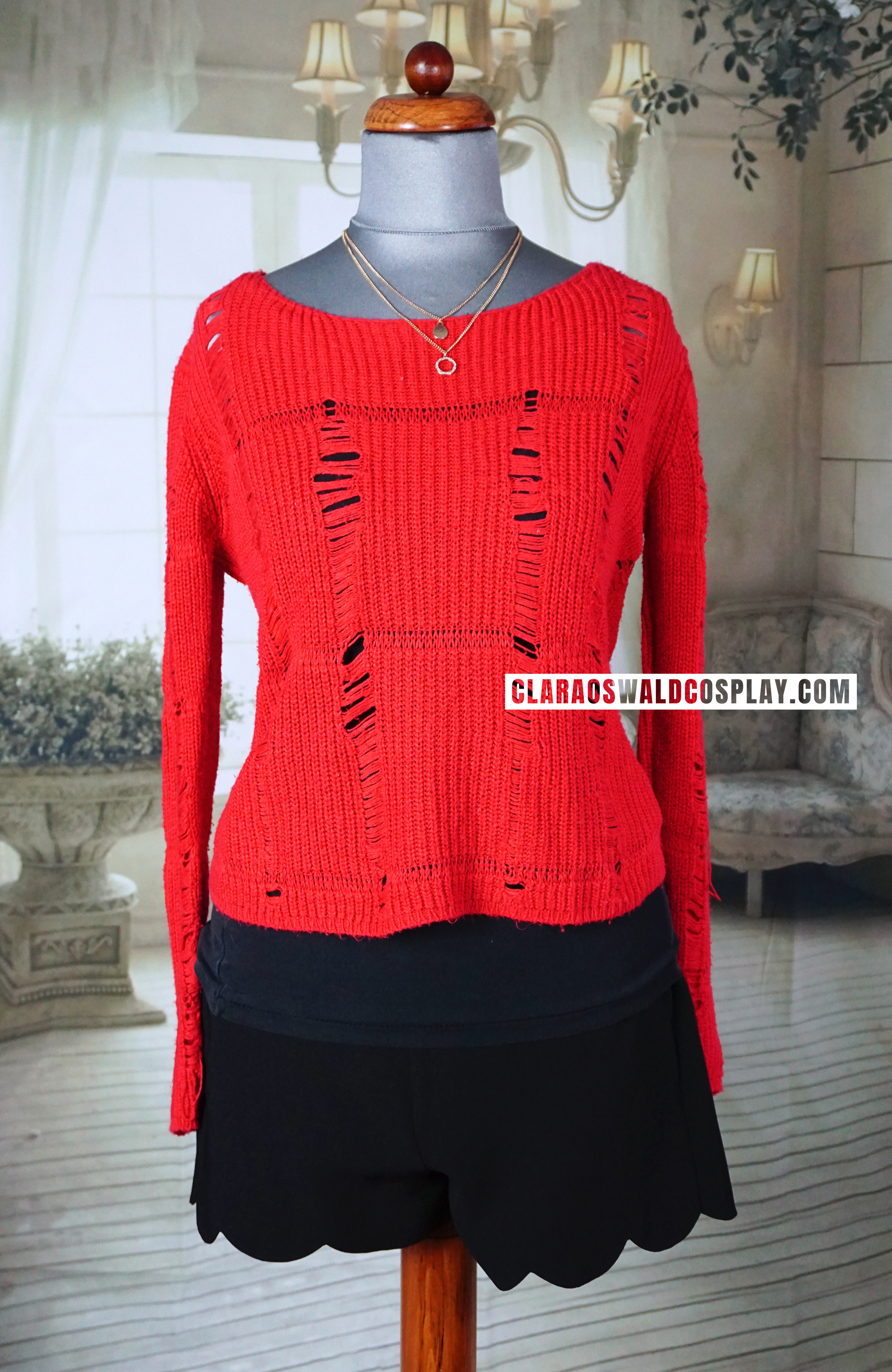Clara Oswald's gorgeous Topshop Red Ladder Stitch Jumper as seen in Into The Dalek