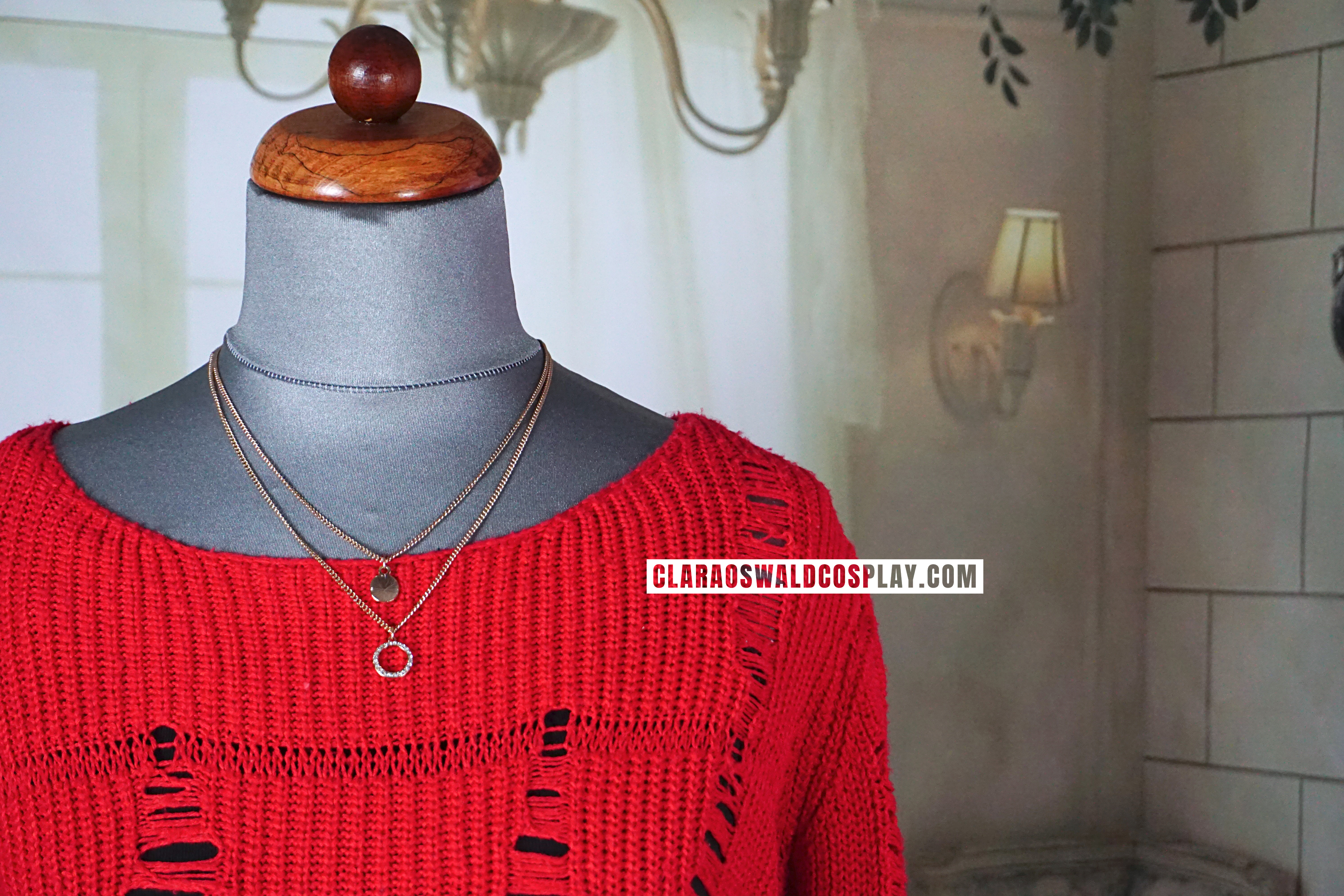 A closer look at the Topshop Red Ladder Stitch Jumper