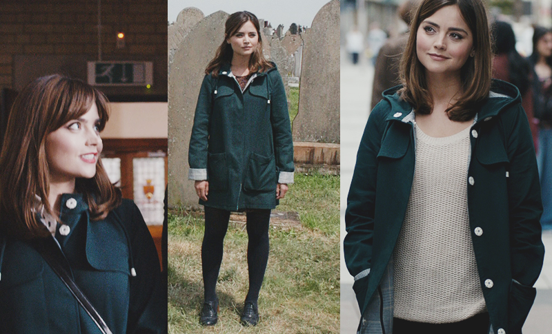 Clara Oswald's Topshop Checked Lined Mac in Green as seen in The Caretaker, Dark Water and Death in Heaven