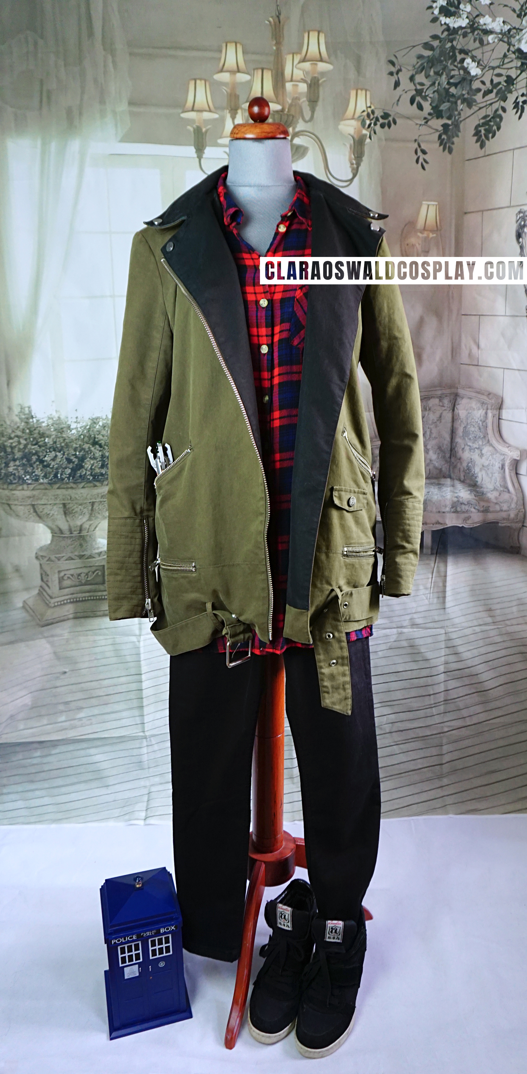 Clara Oswald's complete Flatline outfit featuring: The Kooples Parka, H&M Plaid Shirt and ASH Cool Wedge Trainers