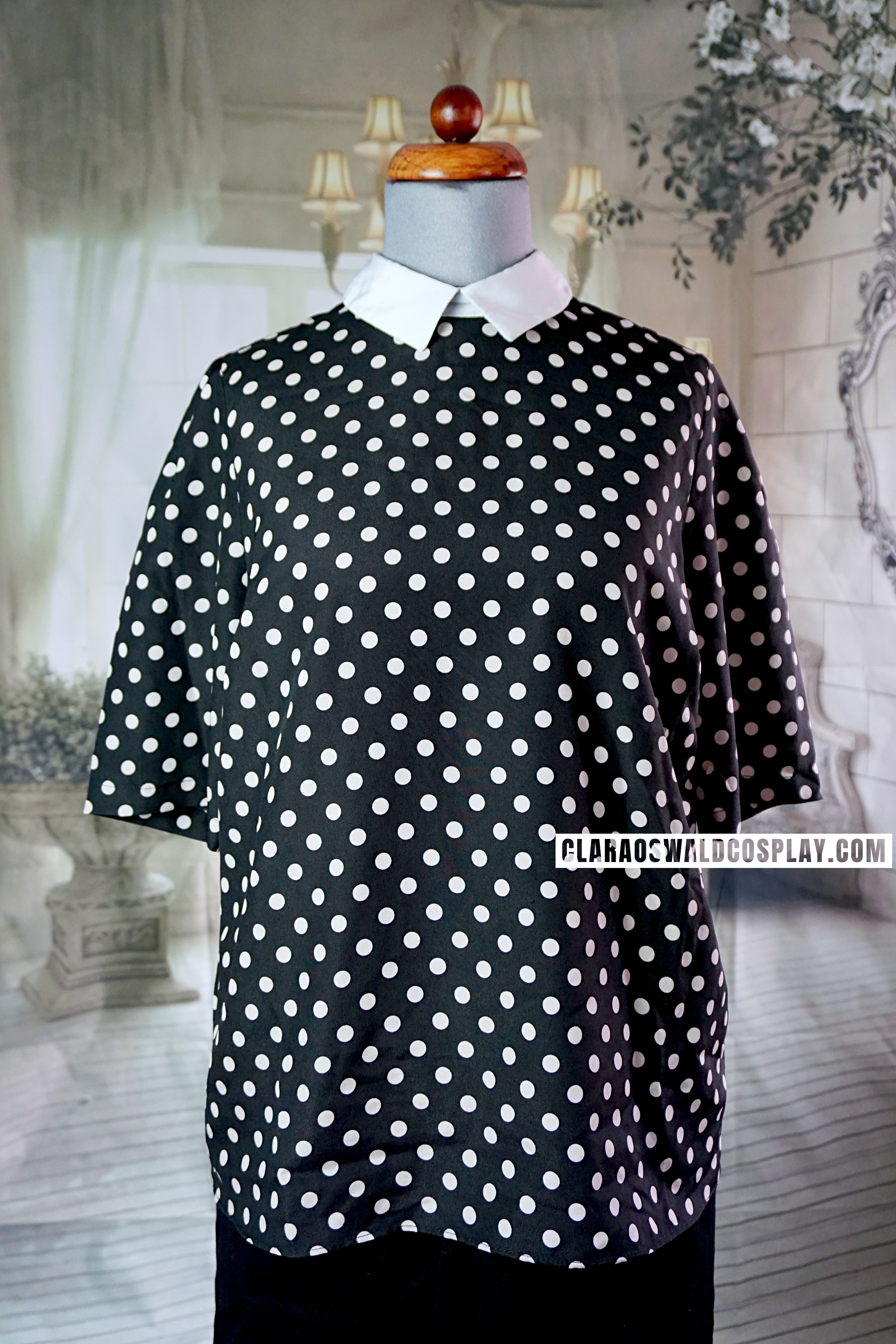 Full view of the River Island Polka Dot Shirt worn by Clara Oswald in In The Forest Of The Night.