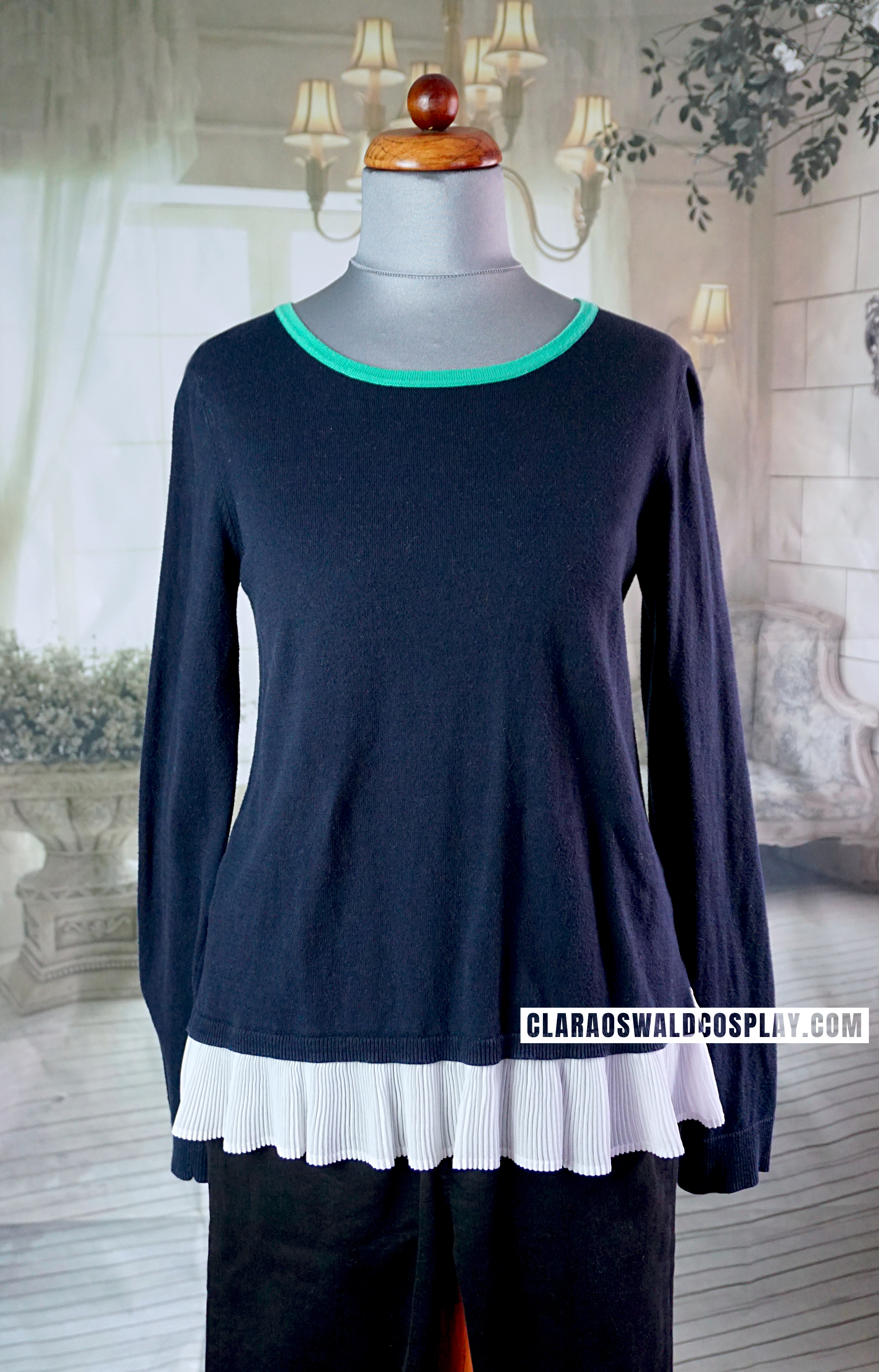 A closer look at the Claudie Pierlot Frill Jumper. It looks black in many photos but is actually a dark navy.