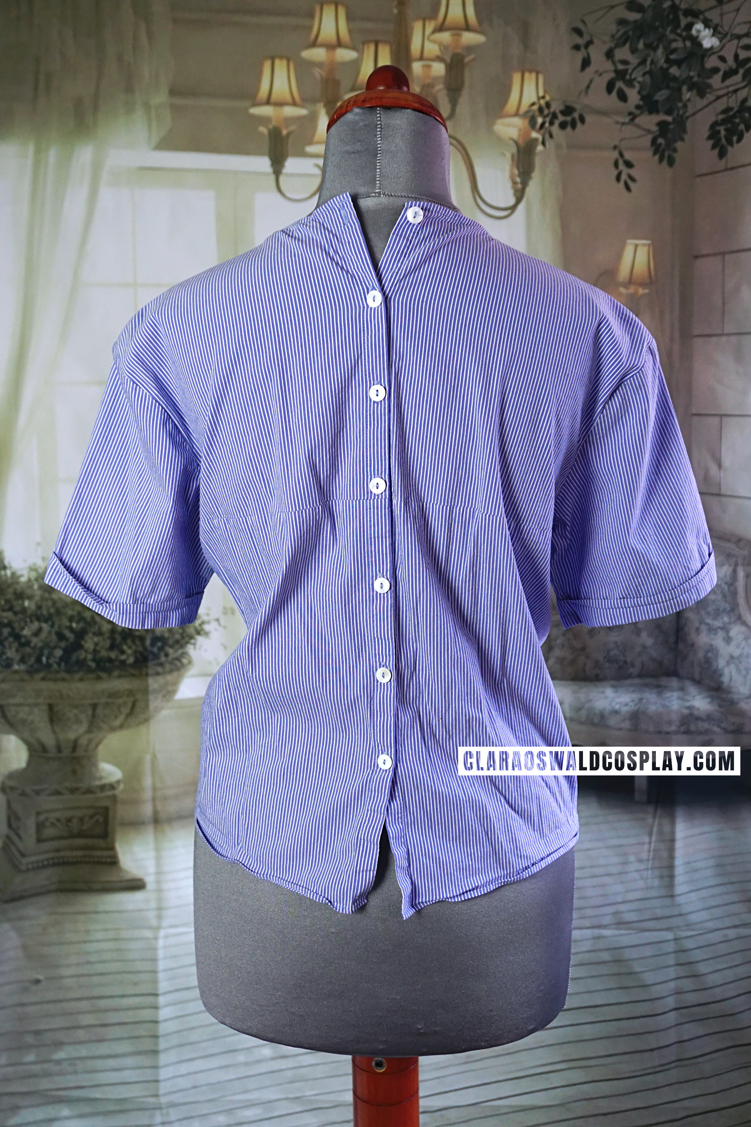 Back view of the Zara Poplin Knot Top with buttons