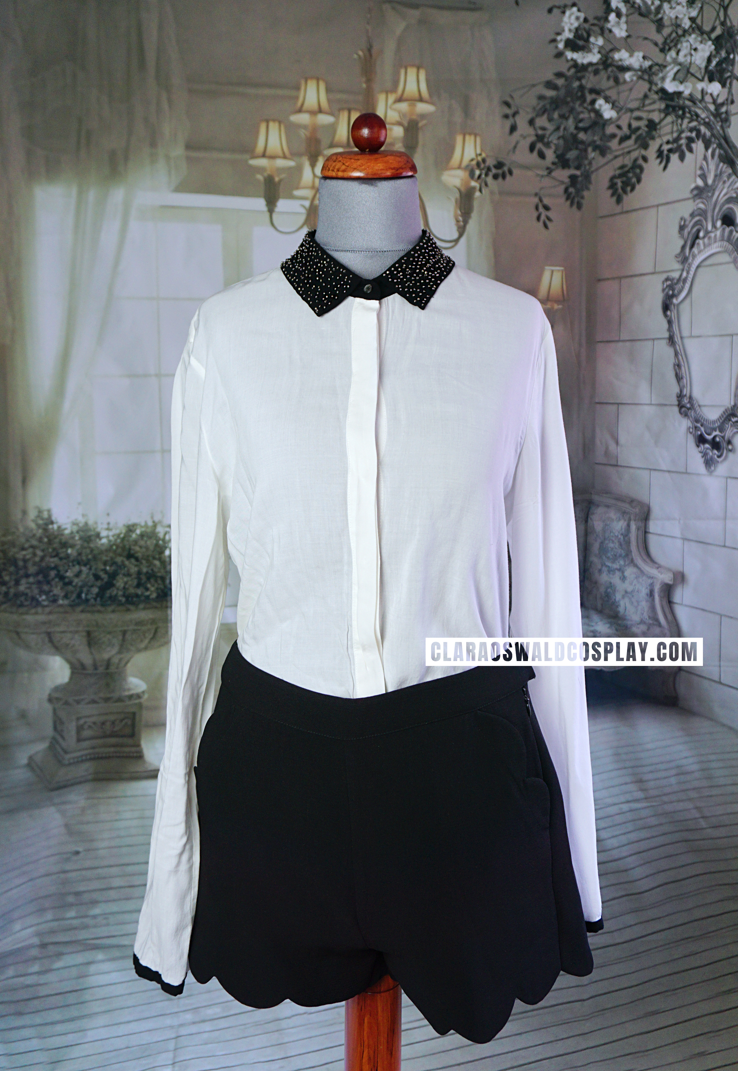 The Maison Scotch Embellished Collar Blouse displayed with the Topshop Scallop Shorts