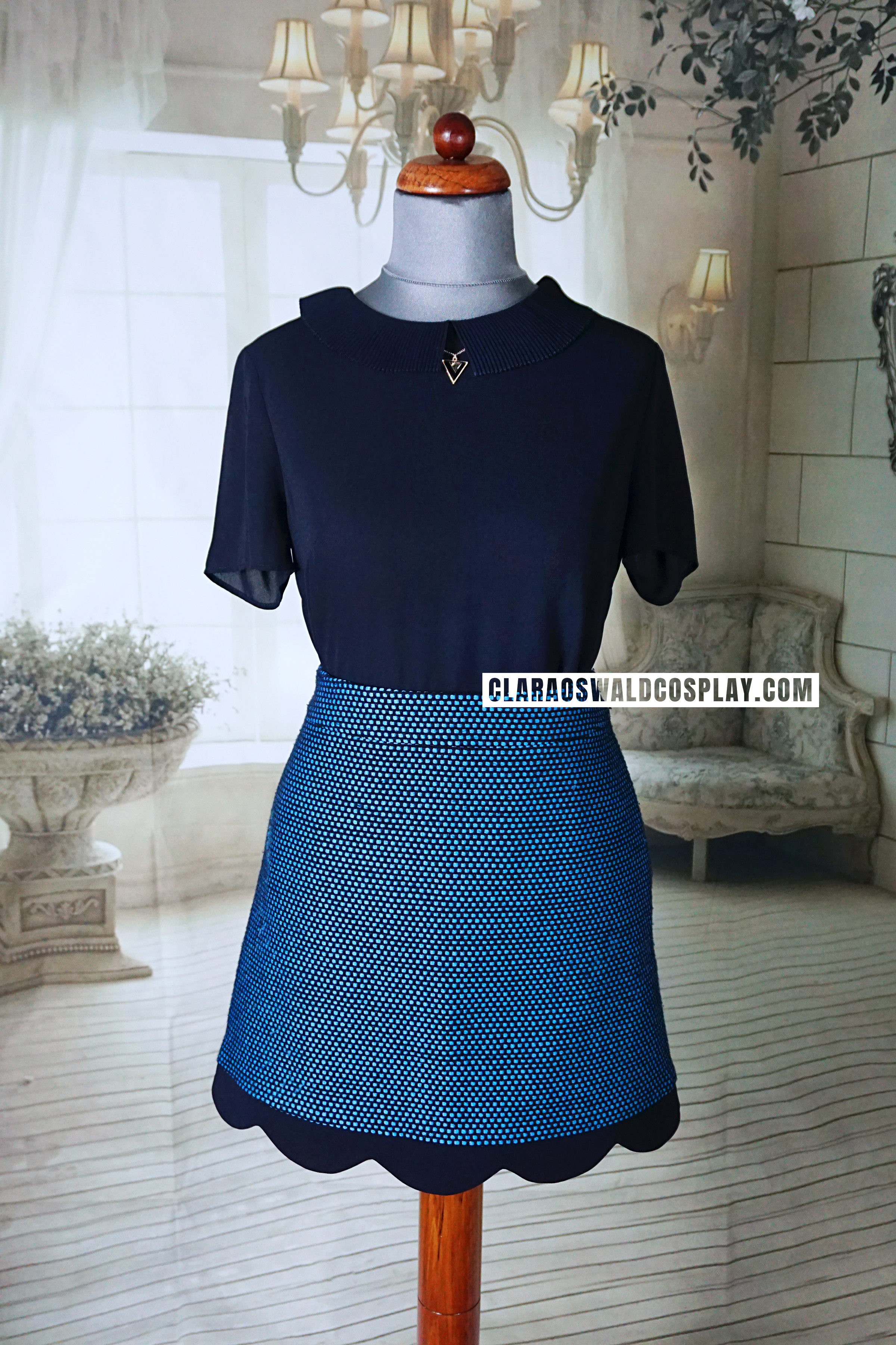 Clara Oswald's Sleep No More / Radio Times Photoshoot outfit with the Claudie Pierlot Soline Skirt and Brooklyn Top