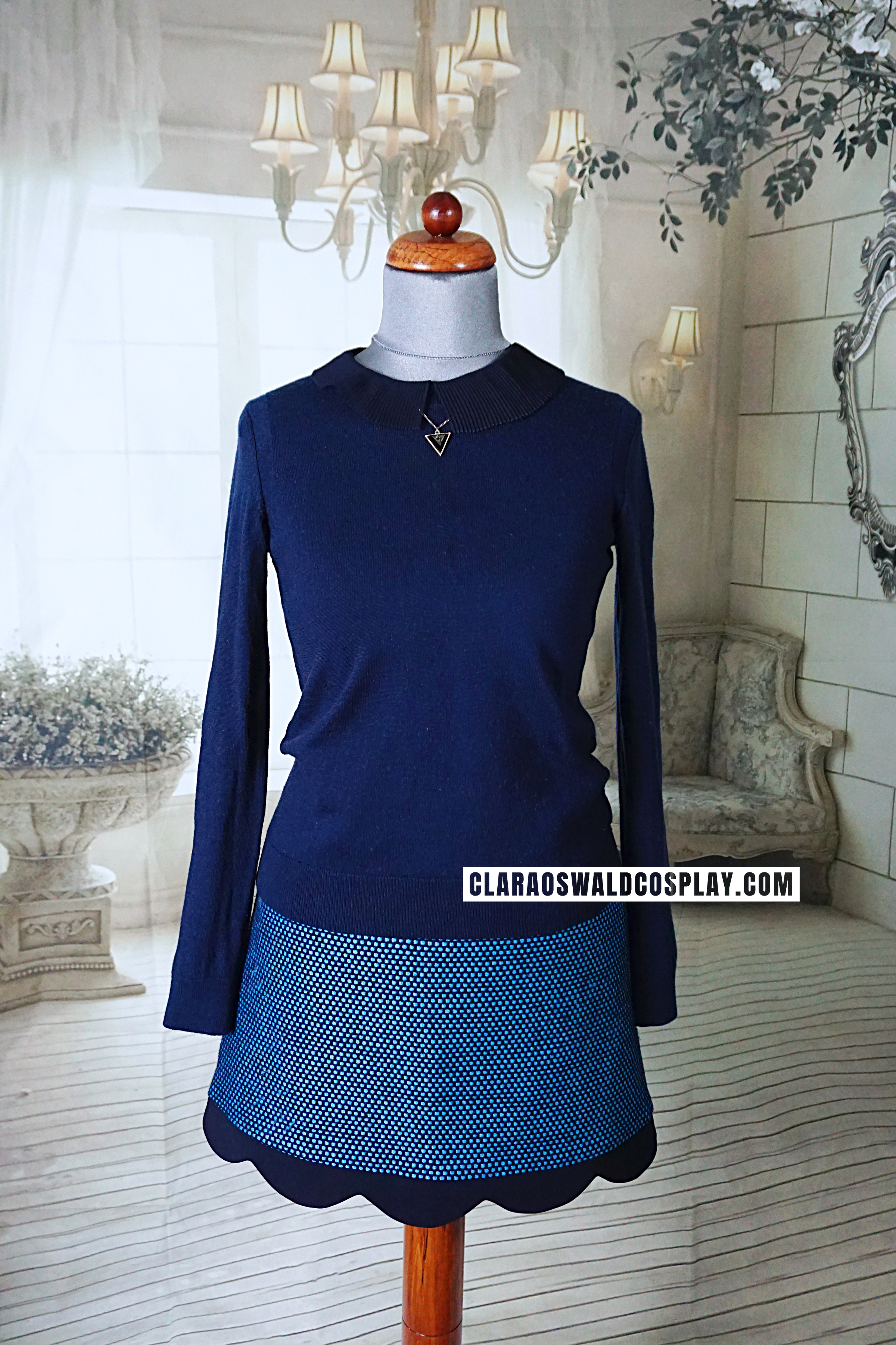 Clara Oswald's complete Sleep No More outfit featuring the Claudie Pierlot Soline Skirt, Claudie Pierlot Brooklyn Top and GAP Navy Jumper (Merino)
