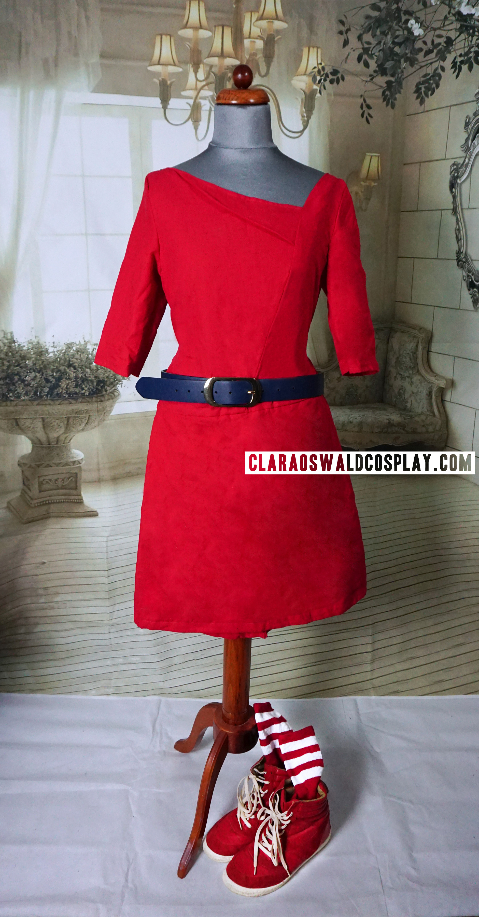 Clara / Oswin Oswald's Asylum of the Daleks outfit featuring the custom made red dress, American Apparel Calf-High Socks and River Island Red Wedge Sneakers