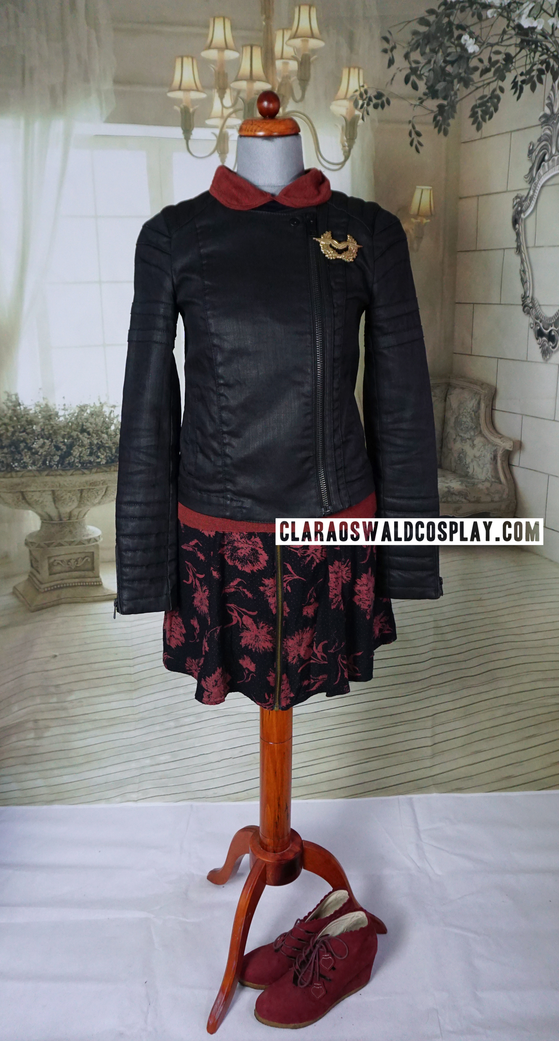 Clara Oswald's Nightmare in Silver outfit featuring the All Saints Axelle Denim Jacket, Sessun Tommaso Contrast Collar & Cuff Merino Jumper, Urban Outfitters Silence + Noise Zip Carnation Skirt and F-Troupe Wedges (alt colour)
