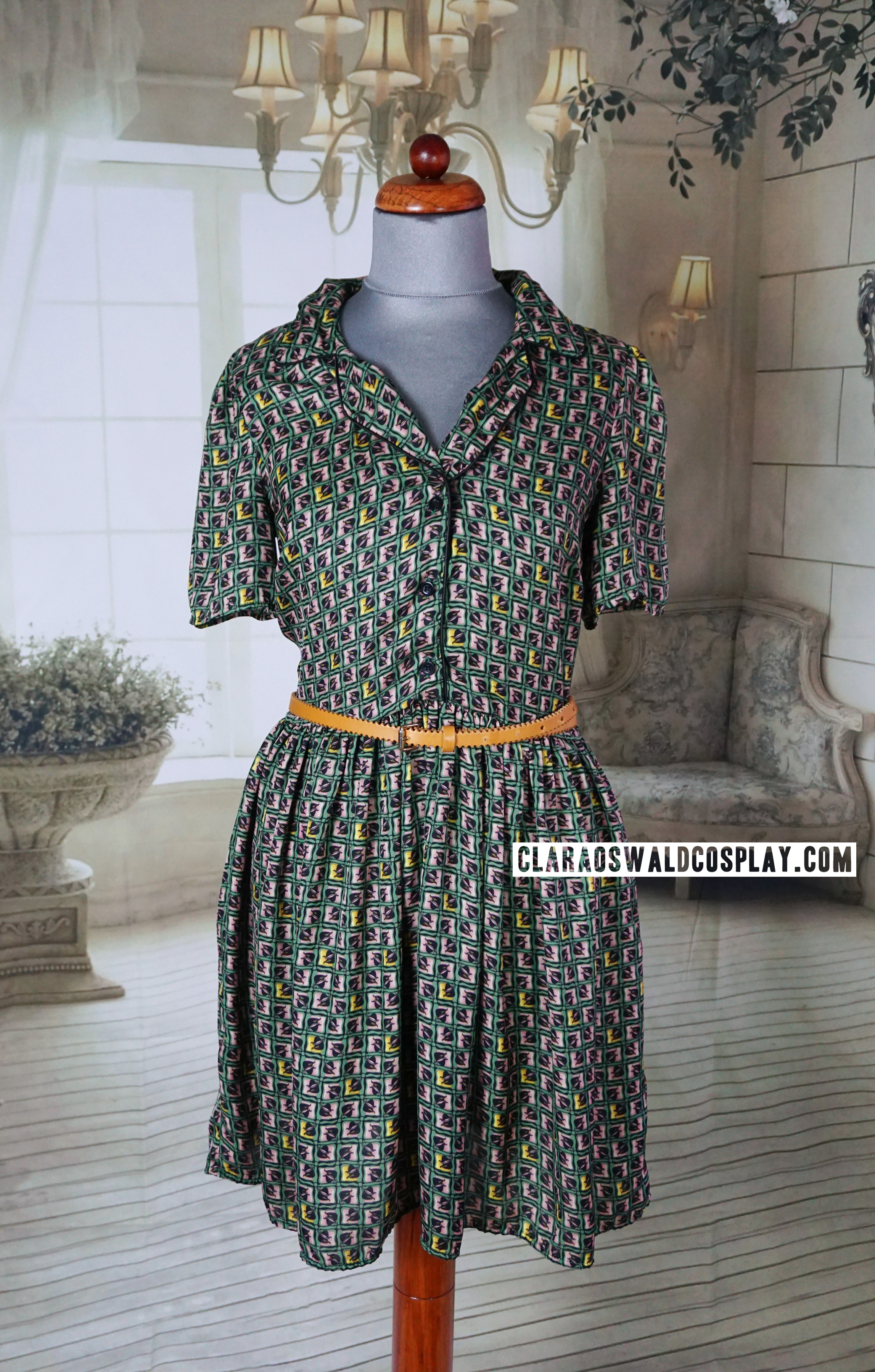 One of Clara Oswald's most iconic dresses is the Topshop Pipe Tile Dress (green) that she wore during a promotional shoot, in The Caretaker and Dark Water