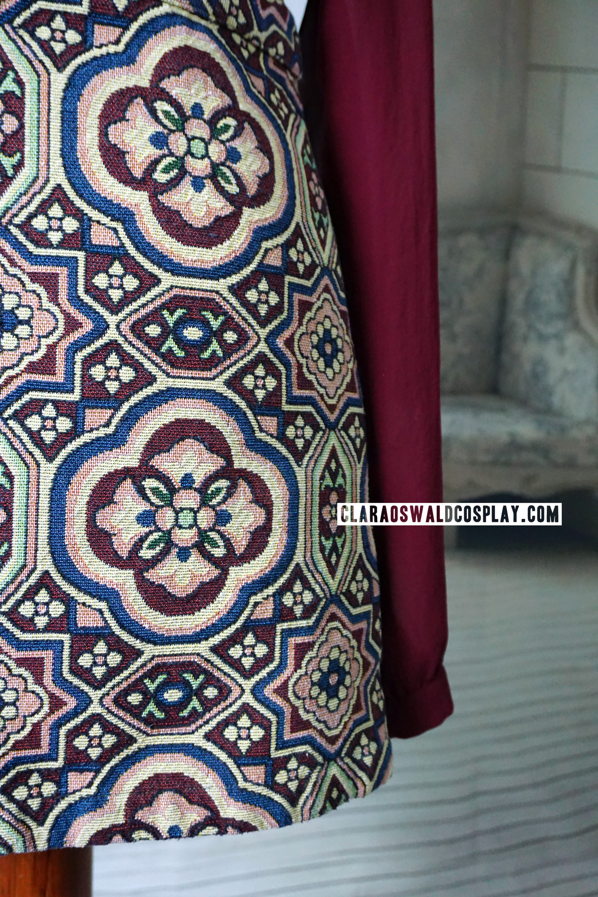 A closer look at Clara Oswald's Topshop A-Line Tapestry Skirt