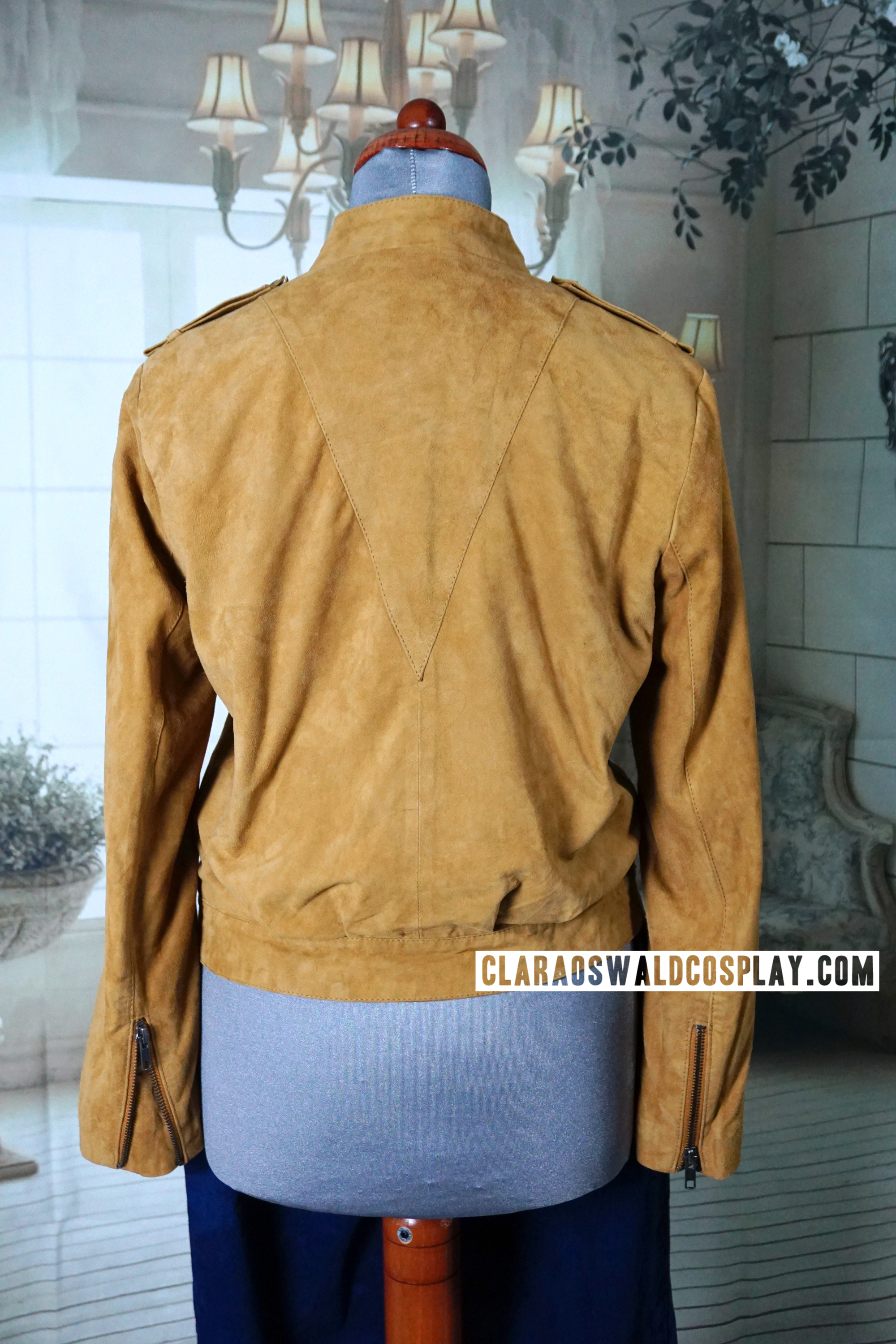 Back view of the Y.A.S. Rosie Suede Jacket and the triangle