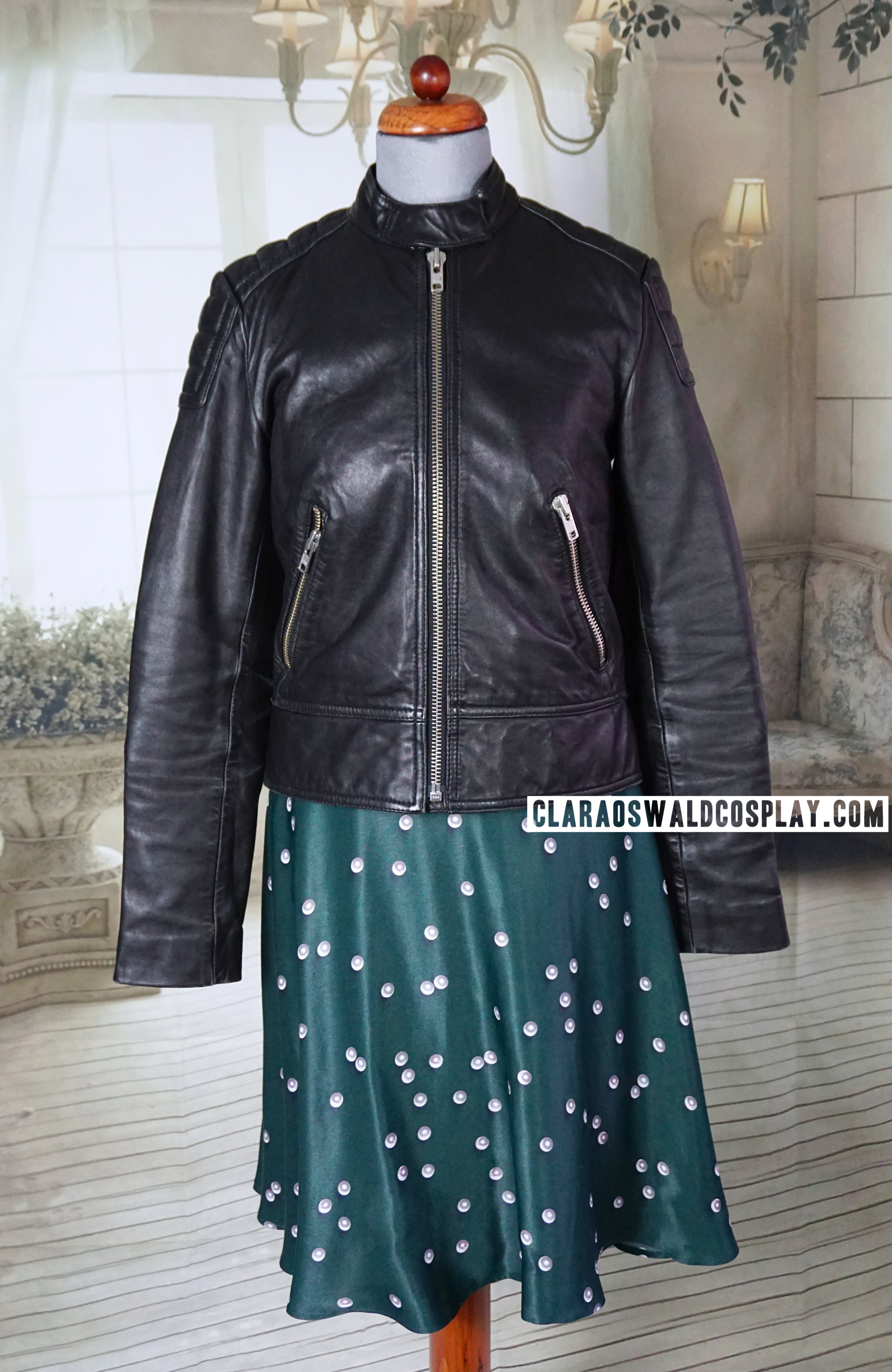 Clara wears the &Other Stories Leather Jacket zipped up during The Witch's Familiar