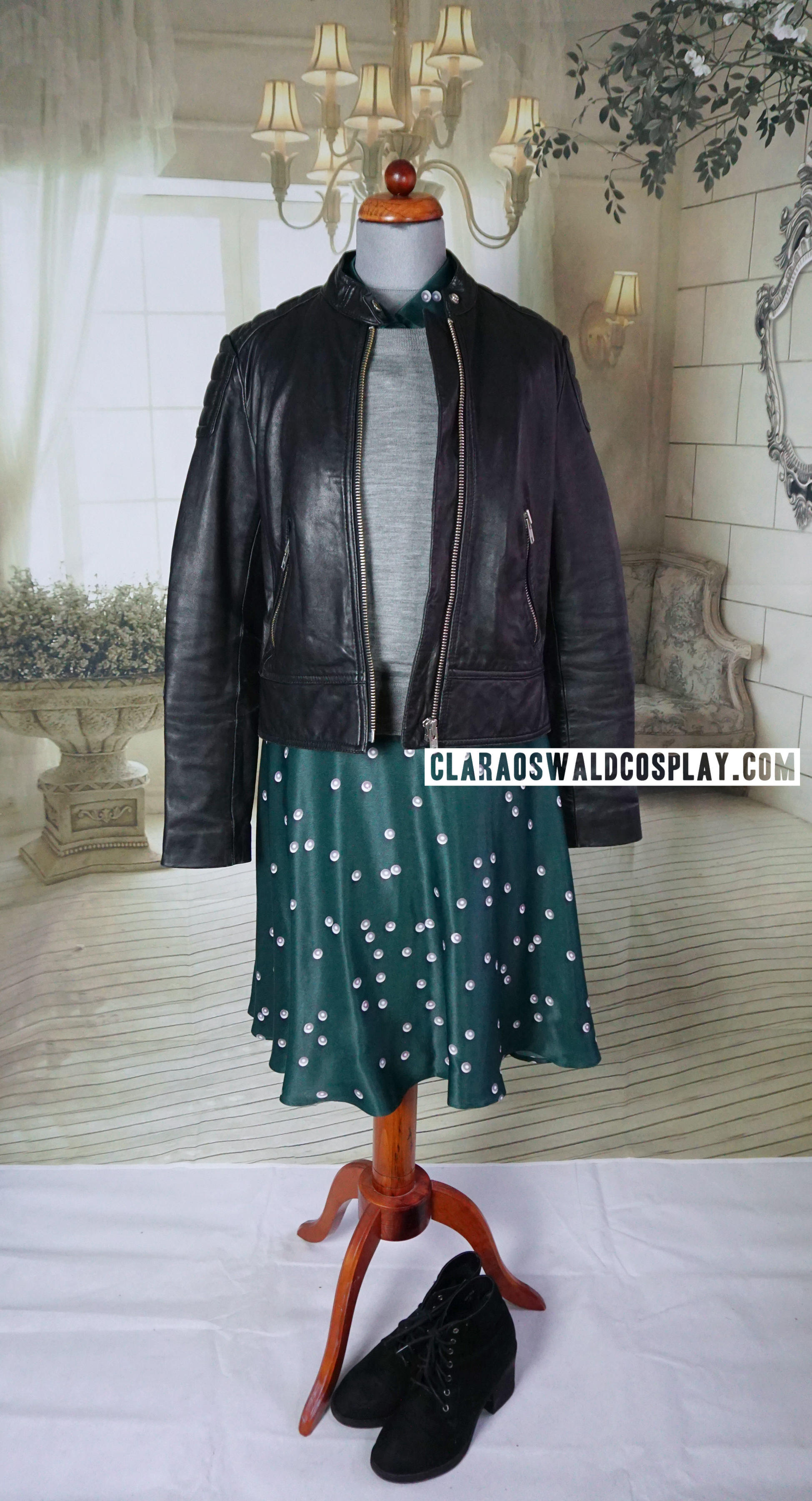 Clara Oswald's Magician's Apprentice / Witch's Familiar Outfit featuring the &Other Stories Leather Jacket, &Other Stories Pearl Print Dress and J.Crew Merino Jumper