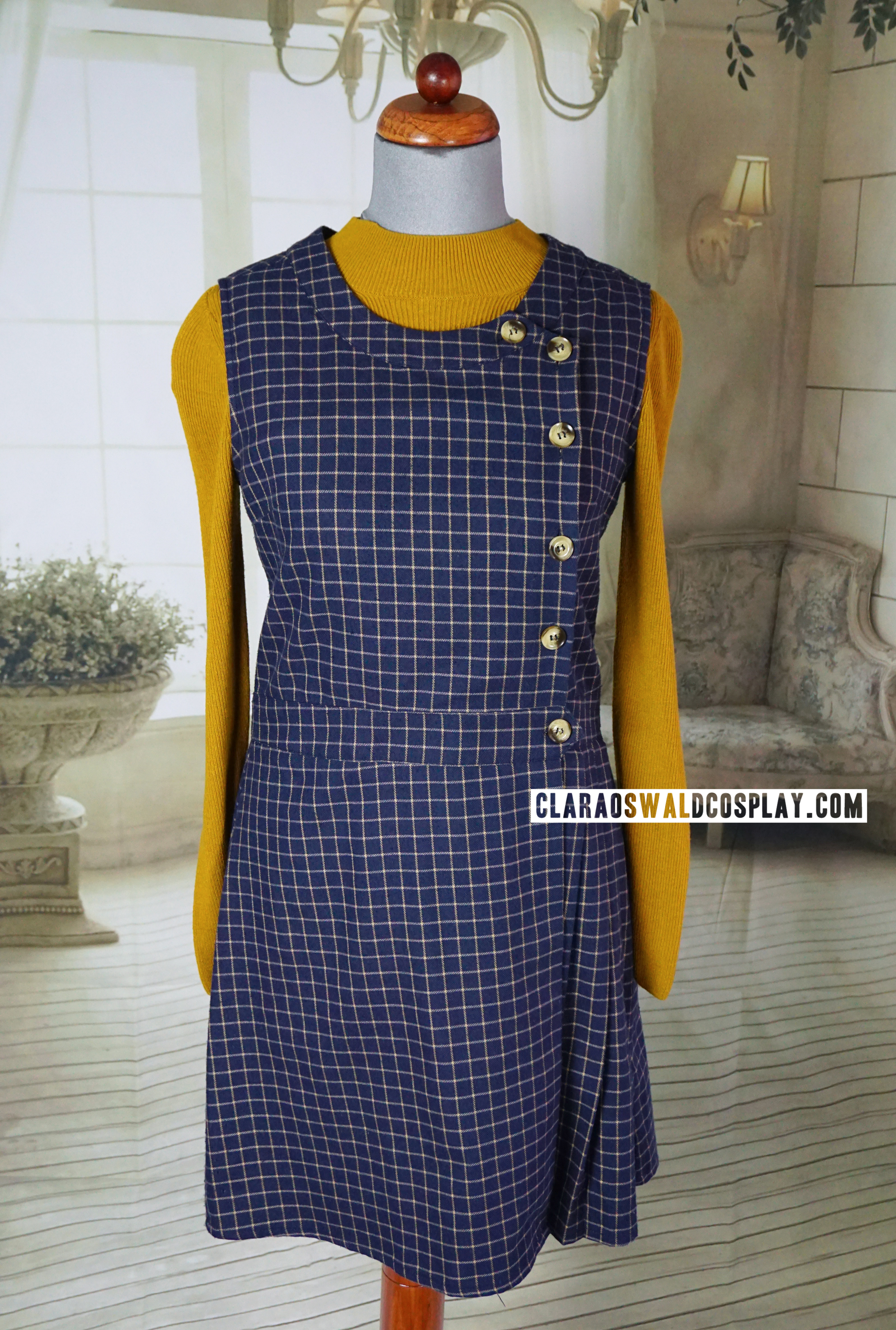 Clara Oswald's Under the Lake / Before the Flood outfit featuring the Topshop Mustard Crop Jumper and Miss Patina Primrose Pinafore