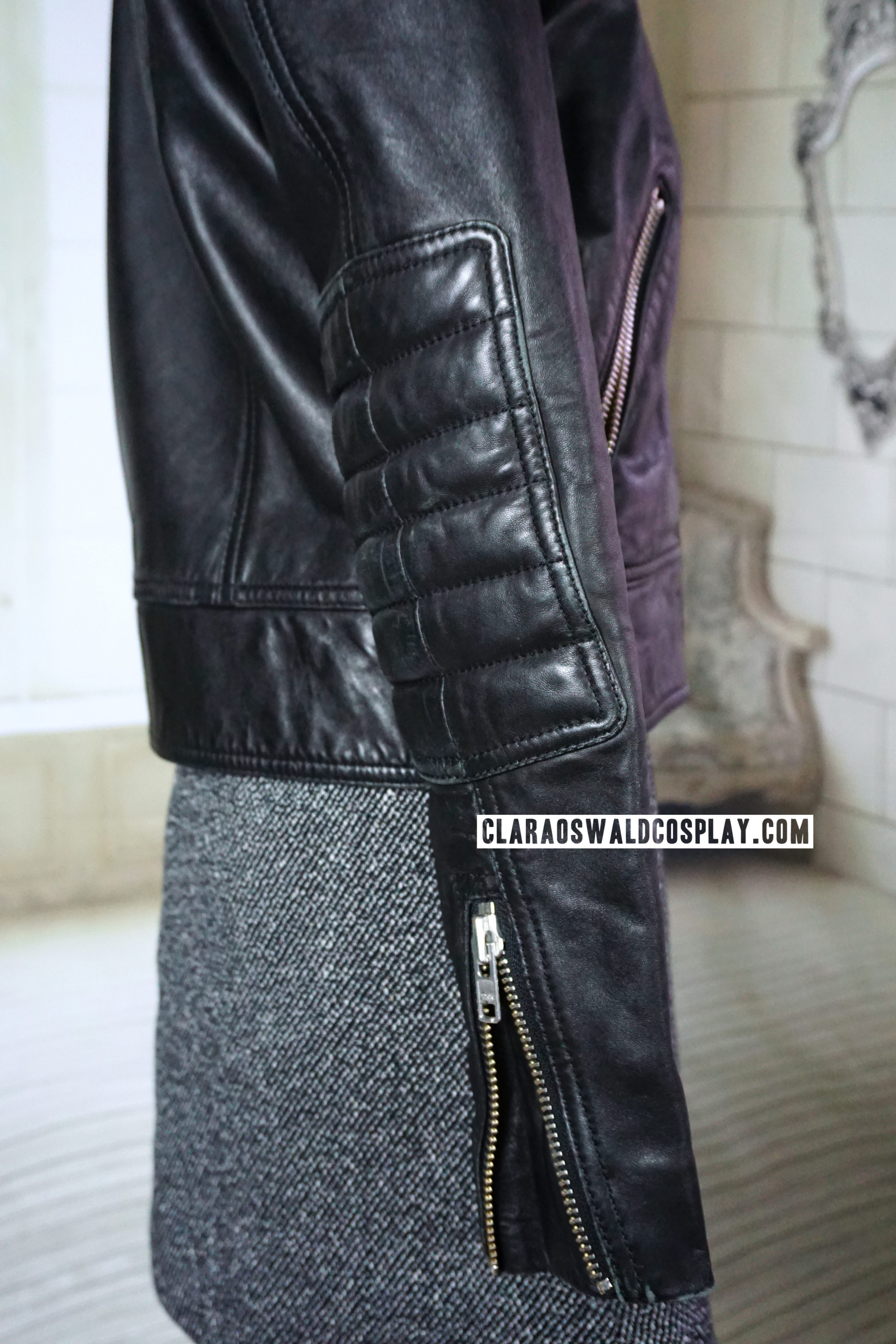 The leather jacket has zips at the sleeves and very soft elbow padding