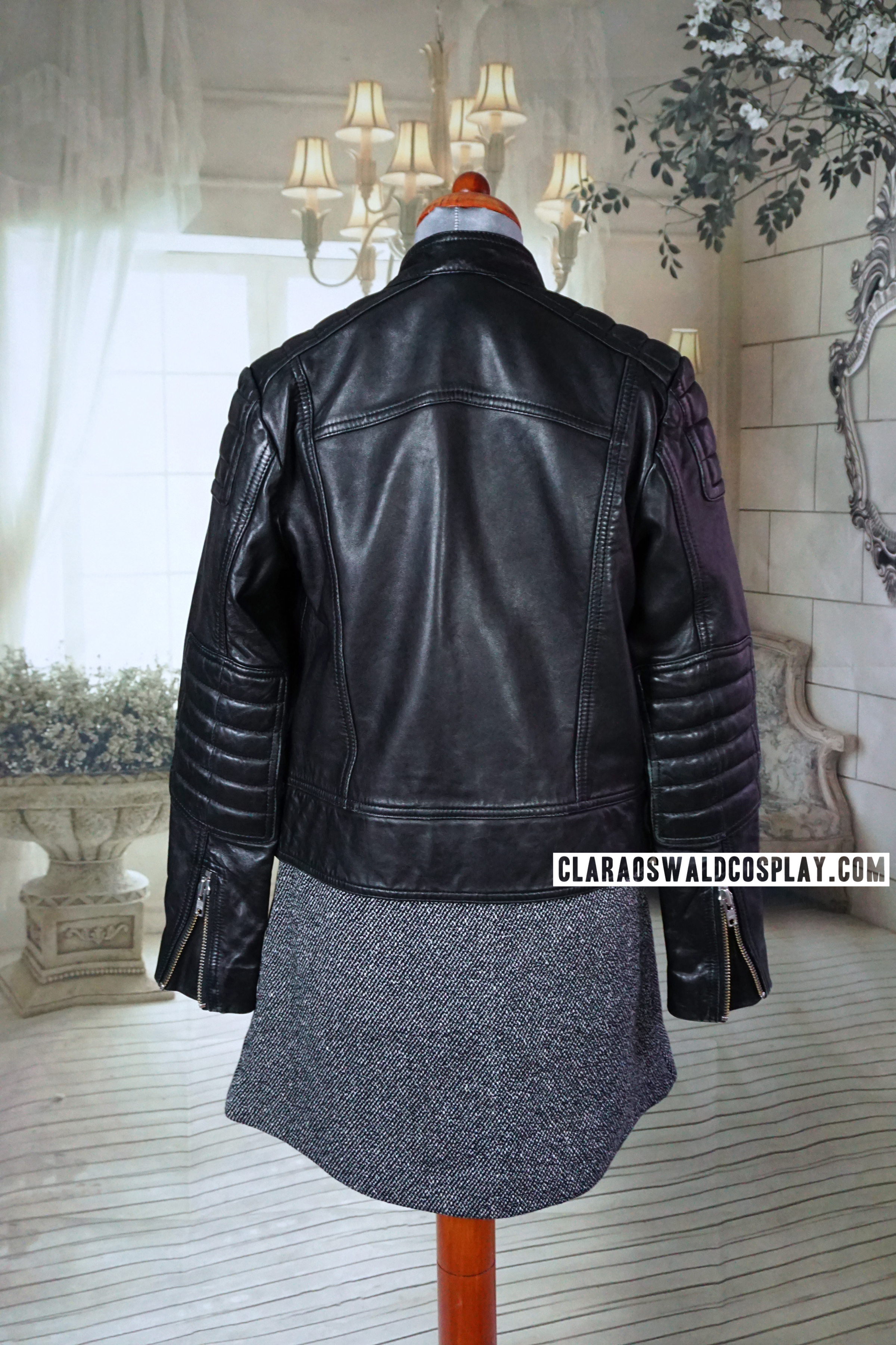 Back view of the &Other Stories Leather Jacket
