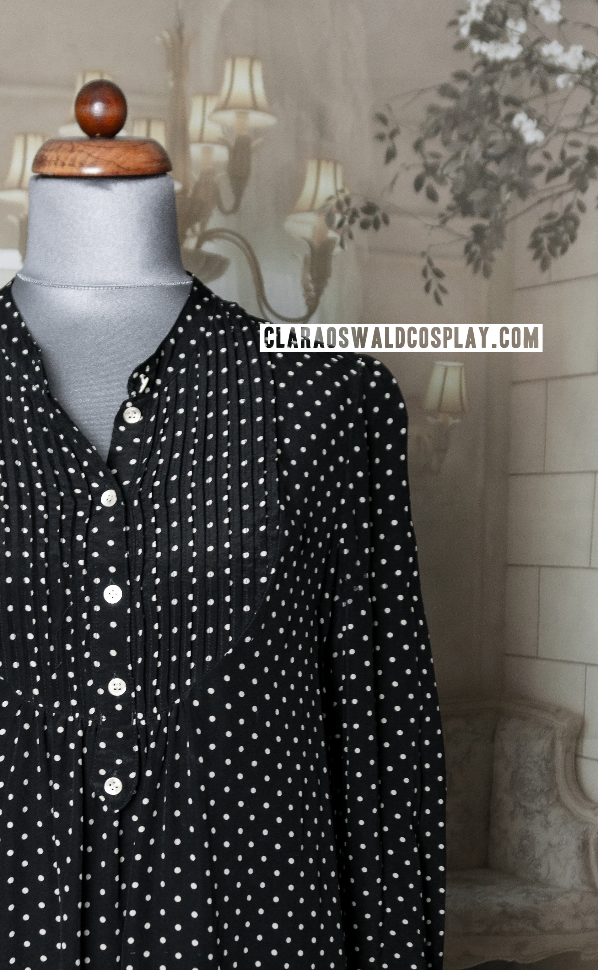 A closer look at the polka dots of Clara Oswald's Jigsaw Blouse