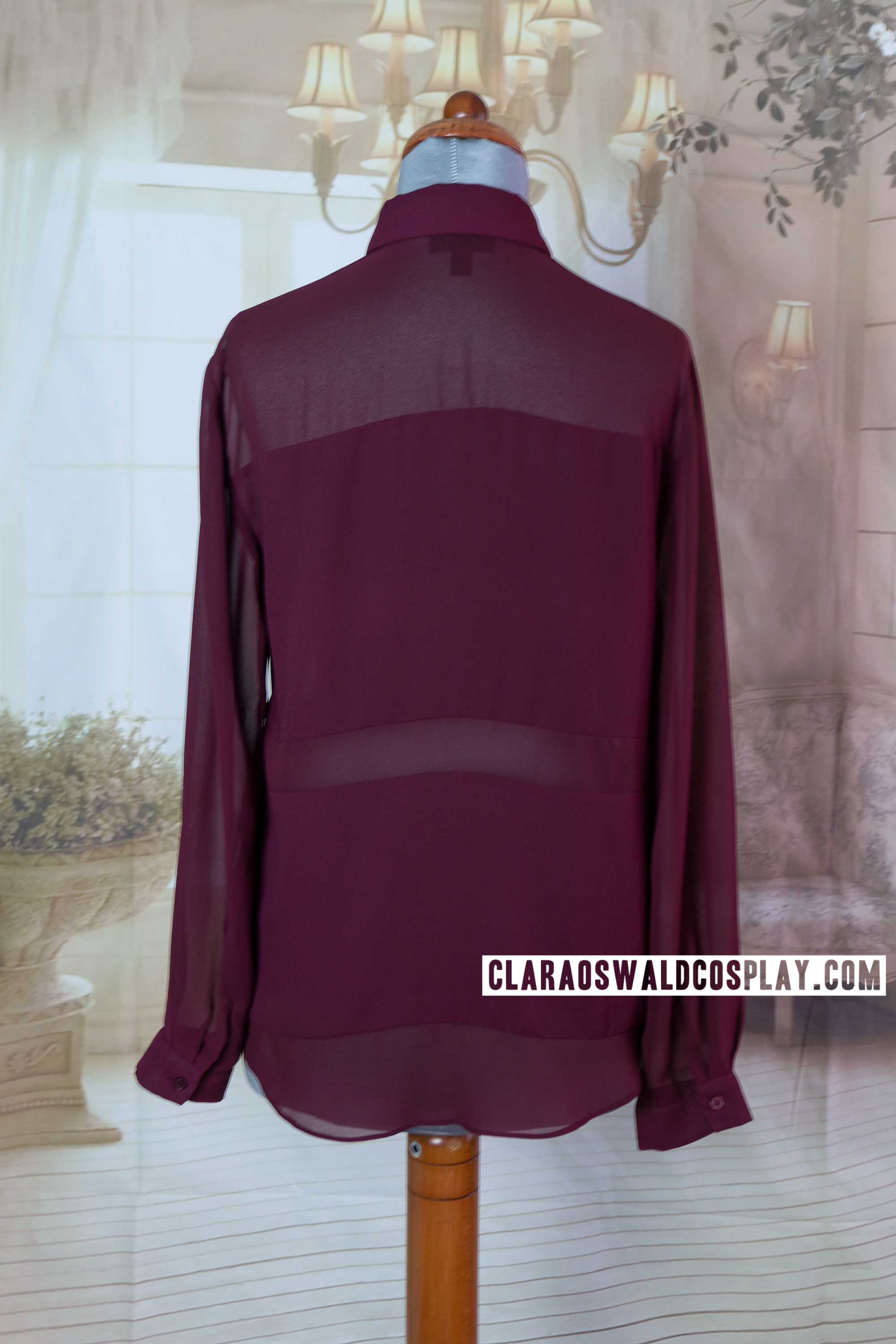 Back view of the Topshop Burgundy Multi-Panel Blouse