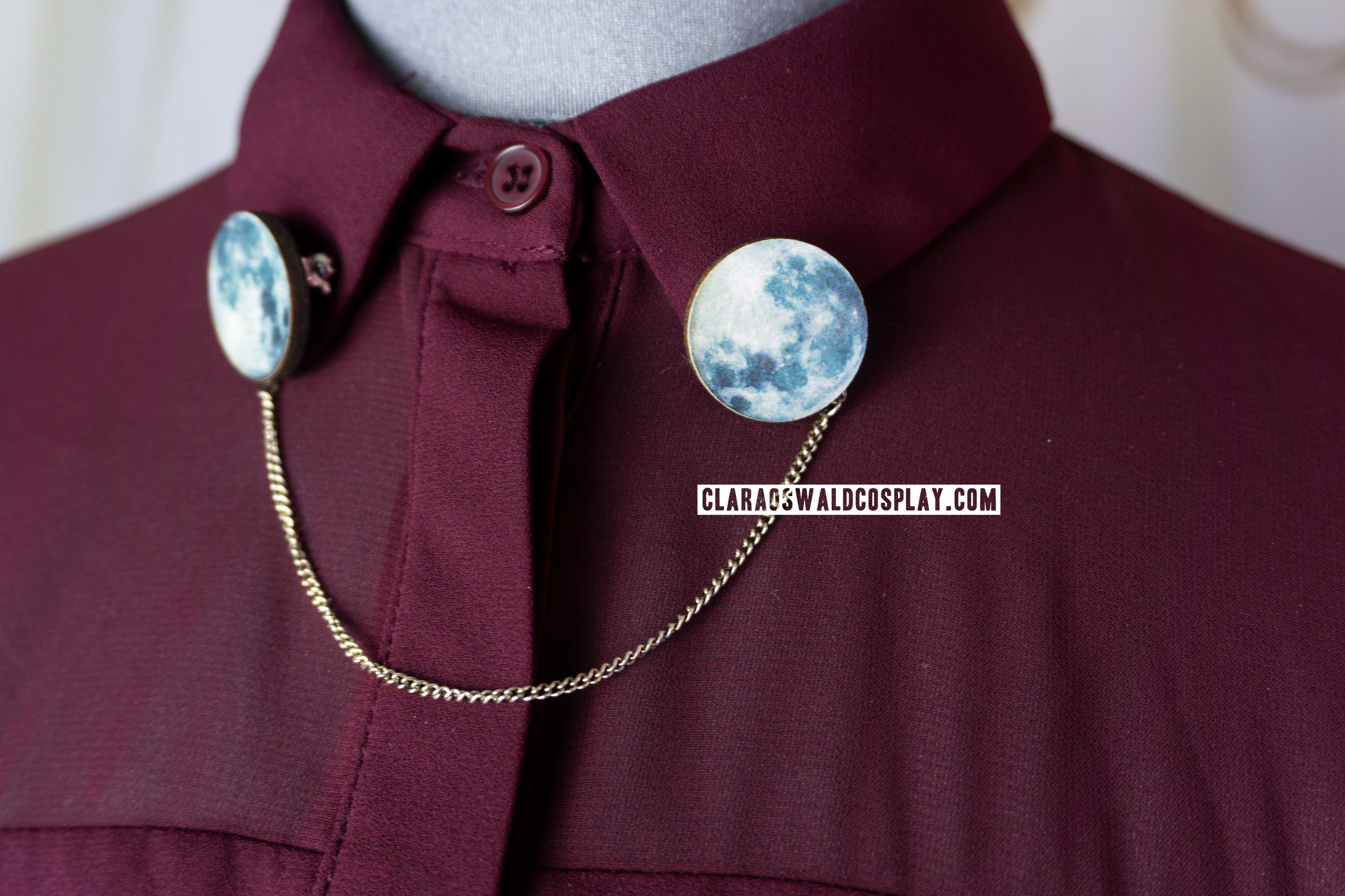 Ladybird Likes Moon Wooden Collar Clips as seen on Clara Oswald in The Caretaker